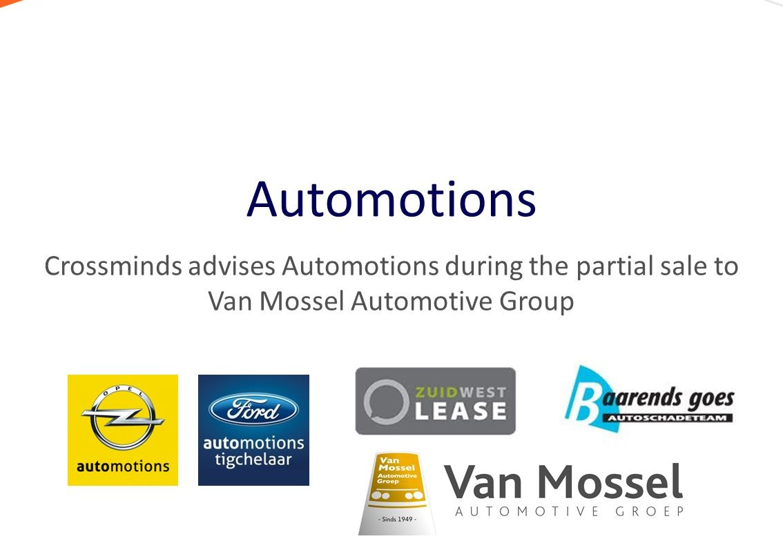 Crossminds advised Automotions during the partial sale to Van Mossel Automotive Group