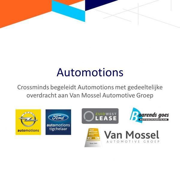 Begeleiding Automotions met gedeeltelijke overdracht aan Van Mossel Automotive Groep